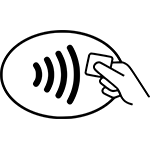 Universal pay symbol is used to show customers when they can pay using a mobile wallet.