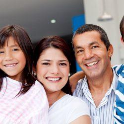 family at car dealership
