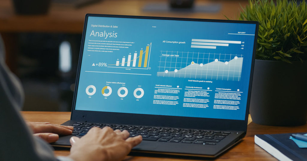 laptop with graphs